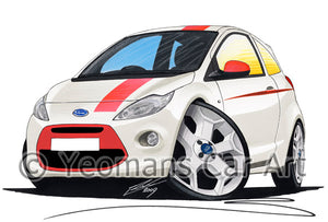 Ford Ka (Mk2) Grand Prix - Caricature Car Art Print