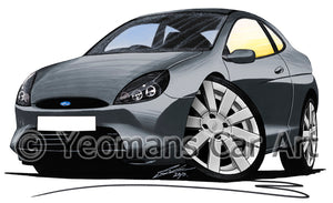 Ford Puma (9-Spoke Wheels) - Caricature Car Art Print