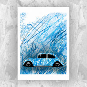 Graffiti Bug (Blue) - Roadside Icons Art Print