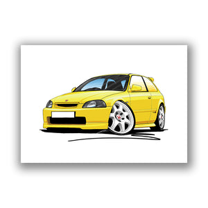 Honda Civic Type-R (Mk1)(EK9) - Caricature Car Art Print