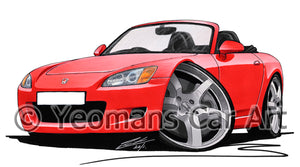 Honda S2000 - Caricature Car Art Print