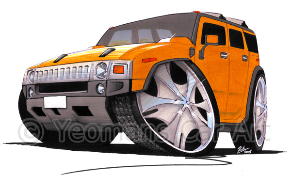 Hummer H2 - Caricature Car Art Print