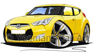 Hyundai Veloster (Right Hand Drive Version) - Caricature Car Art Print