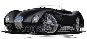 Jaguar C-Type - Caricature Car Art Print