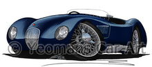 Load image into Gallery viewer, Jaguar C-Type - Caricature Car Art Print