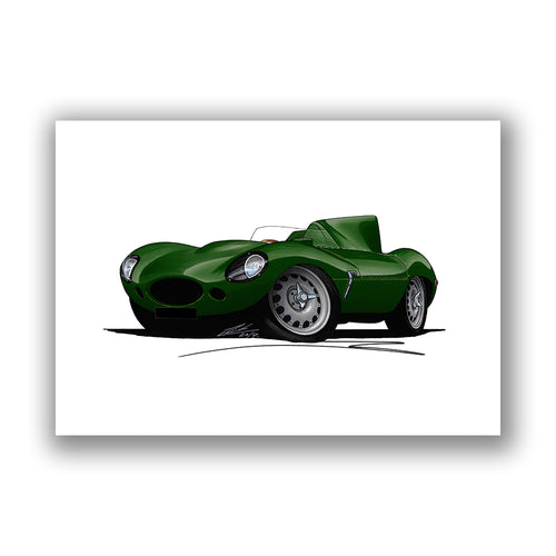Jaguar D-Type - Caricature Car Art Print