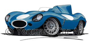 Jaguar D-Type (Racer) - Caricature Car Art Print