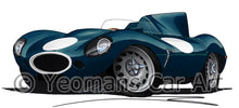 Load image into Gallery viewer, Jaguar D-Type (Racer) - Caricature Car Art Print