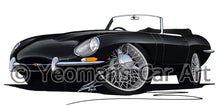Load image into Gallery viewer, Jaguar E-Type S1 Roadster - Caricature Car Art Print