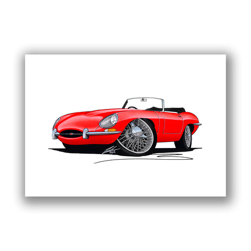 Jaguar E-Type S1 Roadster - Caricature Car Art Print