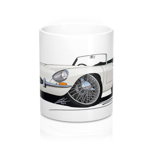 Jaguar E-Type S1 Roadster - Caricature Car Art Coffee Mug