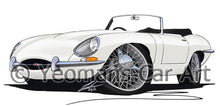 Load image into Gallery viewer, Jaguar E-Type S1 Roadster - Caricature Car Art Coffee Mug