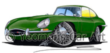 Load image into Gallery viewer, Jaguar E-Type S1 - Caricature Car Art Print