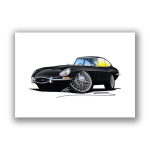 Jaguar E-Type S1 - Caricature Car Art Print