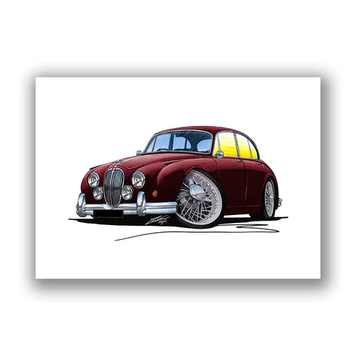 Jaguar Mk2 - Caricature Car Art Print