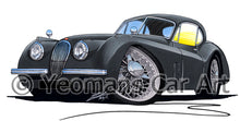 Load image into Gallery viewer, Jaguar XK120 Coupe - Caricature Car Art Print