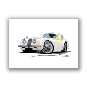 Jaguar XK120 Coupe - Caricature Car Art Print