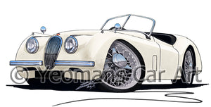 Jaguar XK120 Roadster - Caricature Car Art Print