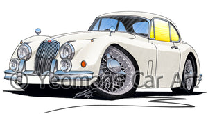 Jaguar XK150 Coupe - Caricature Car Art Print