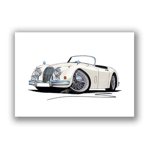 Jaguar XK150 Roadster - Caricature Car Art Print
