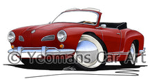 Load image into Gallery viewer, VW Karmann Ghia Cabriolet - Caricature Car Art Print