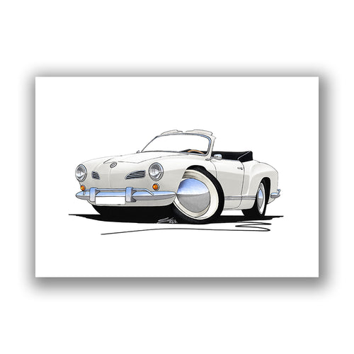 VW Karmann Ghia Cabriolet - Caricature Car Art Print