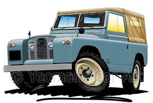 Land Rover Series 2 - Caricature Car Art Print