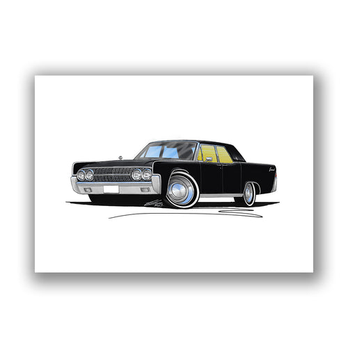 Lincoln Continental (1963) - Caricature Car Art Print