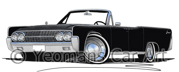 Lincoln Continental Convertible (1963) - Caricature Car Art Print