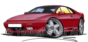 Lotus Esprit S4 - Caricature Car Art Print