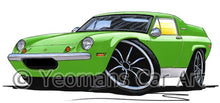 Load image into Gallery viewer, Lotus Europa S2 TC Twin Cam - Caricature Car Art Coffee Mug