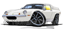 Load image into Gallery viewer, Lotus Europa S2 TC Twin Cam - Caricature Car Art Print