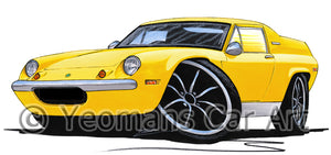 Lotus Europa S2 TC Twin Cam - Caricature Car Art Print
