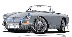 MG B Roadster - Caricature Car Art Print