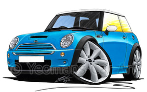 MINI (Mk1)(R53) Cooper S - Caricature Car Art Print
