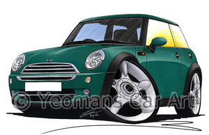 MINI (Mk1)(R50) Cooper - Caricature Car Art Print