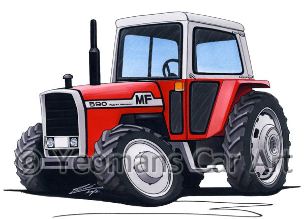Massey Ferguson 590 Tractor - Caricature Car Art Print