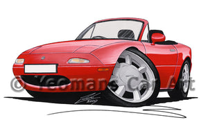 Mazda MX5 (Mk1) - Caricature Car Art Print