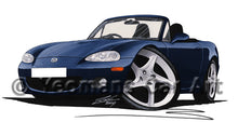Load image into Gallery viewer, Mazda MX5 (Mk2) - Caricature Car Art Print