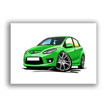 Load image into Gallery viewer, Mazda 2 (Mk3) - Caricature Car Art Print