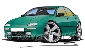 Mazda 323F - Caricature Car Art Print
