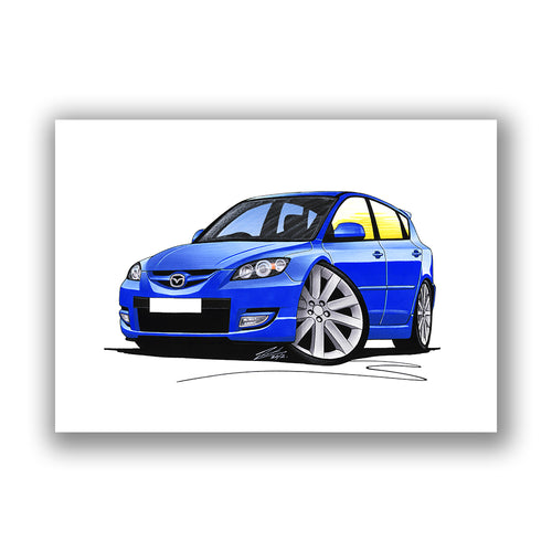 Mazda 3 (Mk1) MPS - Caricature Car Art Print