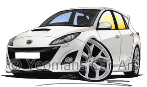 Mazda 3 (Mk2) MPS - Caricature Car Art Print