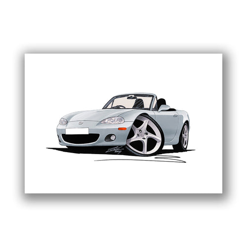 Mazda MX5 (Mk2) - Caricature Car Art Print
