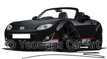 Load image into Gallery viewer, Mazda MX5 (Mk3) (Facelift) Kuro Edition - Caricature Car Art Print