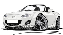 Load image into Gallery viewer, Mazda MX5 (Mk3)(Facelift) - Caricature Car Art Print