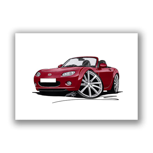 Mazda MX5 (Mk3) - Caricature Car Art Print
