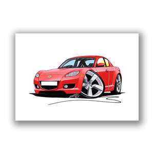 Mazda RX8 - Caricature Car Art Print