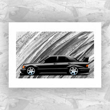 Load image into Gallery viewer, Mercedes 190E Cosworth Evolution II (Black) - Roadside Icons Art Print