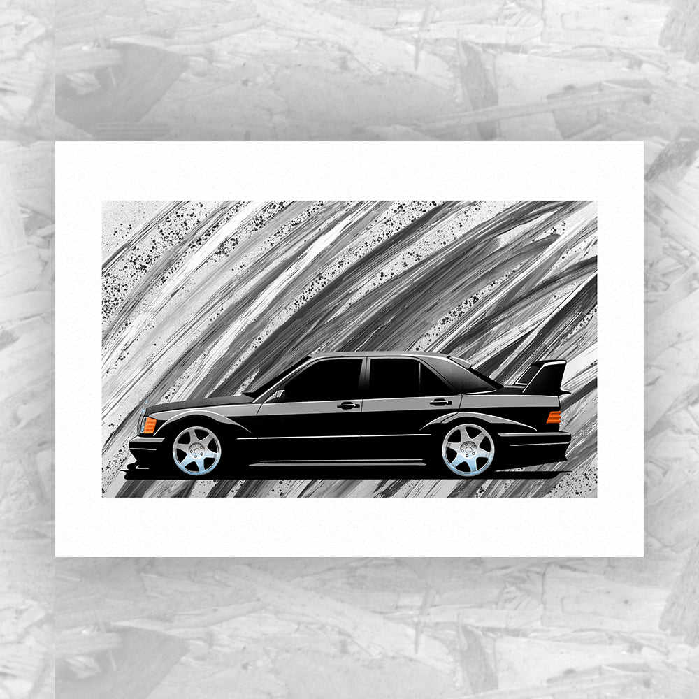 Mercedes 190E Cosworth Evolution II (Black) - Roadside Icons Art Print